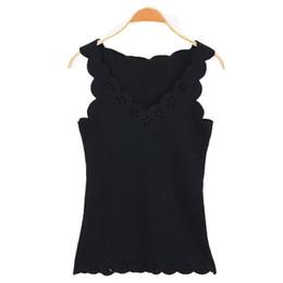 0be8de05190b1 Black Satin Tank Top UK - Casual Tank Tops Solid Color Summer Women Openwork  Sleeveless Lace