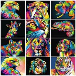 Vente en gros 50x40cm Peintures bricolage Peinture par numéros adultes peint à la main Animaux Photos Peinture à l'huile Mur coloriage cadeau décoration