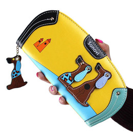 Dog Zipper Australia - Round Style Women Wallets Lovely Dogs Zipper Lady Purses Girls Cards Id Holder Moneybags Coin Purse Long Woman Handbag Burse Bag