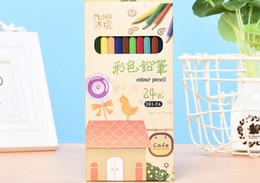$enCountryForm.capitalKeyWord Australia - Amazon hot sale smooth writing 24 color green wooden color pencil boxed children's painting color pencil set wholesale