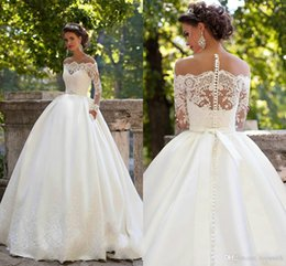 $enCountryForm.capitalKeyWord UK - Free Shipping 2018 New Tulle Bateau Applique Wedding Dresses Off-shouolder Capped Full Length Ball Gown Church Vintage Bridal Gowns