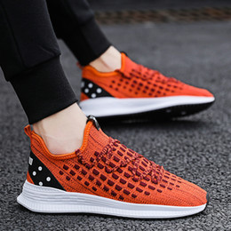 woven rubber 2019 - 2019 Hot Men Casual Shoes Breathable Mesh Sneakers Mens Shoes Fashion Fly Weaving Trainers Male Adult Lace Up Zapatos De