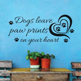 Nursery Room Art Prints Australia - Heart Dogs Leave Paw Prints On Your Heart Wall Sticker For Kids Room Creative Quotes Vinyl Wall Art Decals Home Decoration