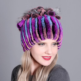 Black ladies sun hat online shopping - High Quality Luxury Beanie Rex Rabbit Fur Knitted Women s Real Fur Hats Warm Padded Autumn And Winter Warm Ladies Colorful Knit Hats
