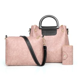 $enCountryForm.capitalKeyWord Australia - Women Bags Sets 3 Piece Handbag PU Leather Solid Female Waterproof Shoulder Bag Ladies Messenger Totes Casual Women Hand Bag