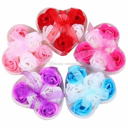 $enCountryForm.capitalKeyWord Australia - Mix Colors Heart-Shaped Rose Soap Flower For Romantic Bath Soap And Gift (6pcs=one box set) hand made DHL free shipping