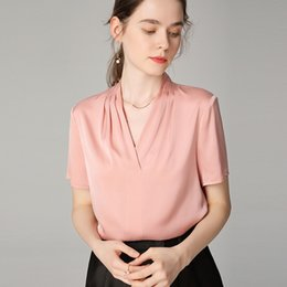 $enCountryForm.capitalKeyWord NZ - Real Silk T Pity Woman 19 Mmishuang True Silk Satin Face 2019 Mulberry Silk Short Sleeve V Lead Shirt Jacket