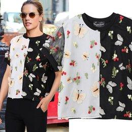 European Style Women T Shirt Australia - 2019 European Fashion Women Summer Contrast Color Tee Top & Sequins Flowers Butterflies Patches Female Unique T-shirt Style F351