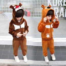 $enCountryForm.capitalKeyWord NZ - Kids Clothes Sets Autumn Winter Boys Casual Gold Velvet Thickening Set Two-piece Hooded Zipper Simple Clothing Christmas Gift