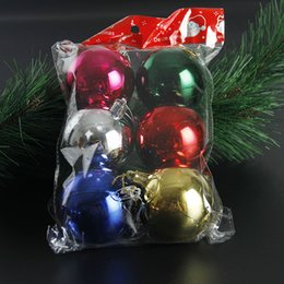 Dhl Christmas Ornament Australia - 6Pcs lot 60mm Christmas Tree Balls Ornaments Shatterproof Balls Xmas Trees Wedding Parties Tree Decorations For Holiday With Muticolor DHL