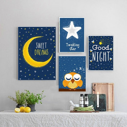 Life Quotes Painting Australia - Nordic Cartoon Night Sky Good Night Quotes Canvas Painting Wall Decor Painting For Kids Bedroom Living Room Canvas Printing Poster