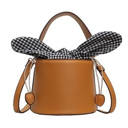 Wholesale Fashion Bucket Handbag for Women Bow Plant Small Totes Pu Leather Shoulder Bags Ladies Crossbody Bags Female Bolsa Sac