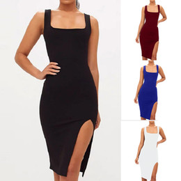 Korean Fashion dress Women Sexy Solid Sleeveless Open Fork Strap party dress Summer Style robe femme Bodycon Long Sling Dress