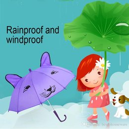 3d umbrella wholesale NZ - Kids Cartoon Windproof Folding Umbrellas 3D Ear Modeling Kids Umbrellas Rain Protection C-Hook Hands Lovely Cartoon Design Umbrella BH0078