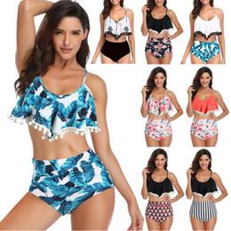 Frauen Badeanzug Sommer Strand Bikini Sets Push Up Badeanzug Lotusblatt Spitze Ball Design Sexy Bademode Zweiteilige Anzüge 8 Stile im Angebot