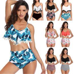 Mulheres Swimsuit Verão Praia Conjuntos de Biquíni Push Up Terno de Natação Folha De Lótus Lace Ball Design Sexy Swimwear Two Piece Ternos 8 Estilos venda por atacado