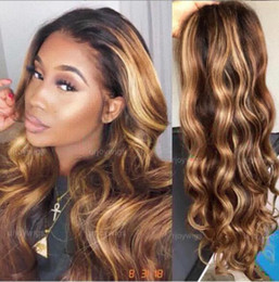 women human hair wig Canada - Celebrity Lace Front Wig Two Tone Ombre Highlight Loose Wave 10A Malaysian Virgin Human Hair Full Lace Wigs for Black Woman Express Shipping