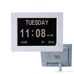 Wholesale 8 inch Digital Calendar Alarm Day Clock with 3 Alarm Options, Extra Large Non-Abbreviated Day & Month Color Display Settings