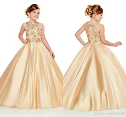 Bling tulle flowers online shopping - New Bling Flower Girls Dresses For Weddings Jewel Lace Appliques Beads Sleeveless Ball Gown Satin Birthday Children Girls Pageant Gowns7678