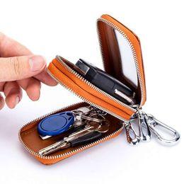 Zipper Manufacturers Australia - Car key bag leather zipper Manufacturer double layer men's key bag waist hanging