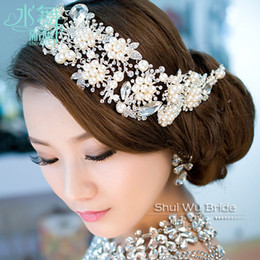 Hair For Brides Australia - Imported Alloy Plated Pearl Crystal Bridal Headdress Tiara Wedding Hair Accessories Hair Jewelry For Brides Y19051302