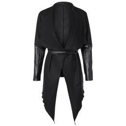Wholesale leather sleeve woolen coat for sale - Group buy Winter Cardigan Women Woolen Coat Slim Patch Womens Jacket Wool PU Leather Long Sleeve Trench Belt Coat Windbreaker Wool Jacket