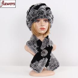 $enCountryForm.capitalKeyWord NZ - Lady Real Fur Hats Scarves Sets Women Winter Knit Rex Rabbit Fur Beanies Hat Scarf Fluffy 100% Natural 2 Pieces Hat Scarf