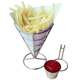 controller chip NZ - Stainless steel French Fry Stand Cone Basket Holder for Fries Fish and Chips and Appetizers