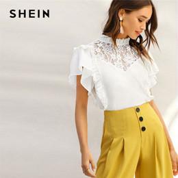 46884d6fe9009b Frill Blouse Australia - SHEIN Lady Frill Trim Neck Lace Yoke Ruffle Detail  White Top Summer