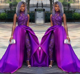 Wholesale jumpsuit party dress online – ideas 2020 Purple Jumpsuits Prom Dresses With Detachable Train High Neck Lace Appliqued Bead Evening Gowns Luxury African Party Women Pant Suits