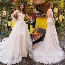 bride dresses detachable skirts NZ - Sexy Mermaid Wedding Dresses 2020 Sweetheart Lace Long Sleeve Detachable Train Illusion Bride Gown Vestido de Noiva Plus Size Wedding Dress