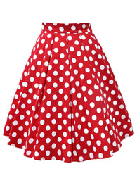 red white tutus UK - wholesale Women Cotton Summer Skirt Red Black White Polka Dot High Waist Vintage Tutu Skater faldas mujer Casual Swing Midi Skirts