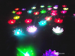 lotus lantern supplies UK - 19cm LED Lotus flower lamp in Colorful Changed floating water Wishing Light Water Lanterns For wedding Party Decorations supplies