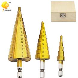 Titanium Cutter NZ - hole cutter Metal 4-12 20 32mm Wooden Box Step Drill Bit Spiral Flute HSS Steel Cone Titanium Coated Mini Drill Bit Tool Hole
