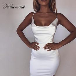 4d3c6ec65501 NATTEMAID Backless Strapless Satin Bodycon Dresses Women Mini Clubwear Zip  Bandage Dress Summer Club Sexy White Dress Vestidos