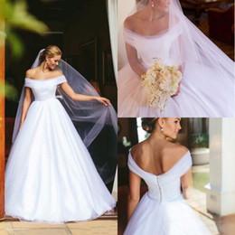 $enCountryForm.capitalKeyWord Australia - Off Shoulder White Wedding Dresses 2020 Corset Back Simple Draped Garden Country Arabic Bridal Gowns vestidos de novia Plus Size Cheap