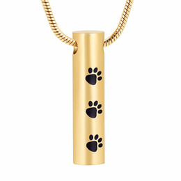 $enCountryForm.capitalKeyWord Australia - IJD2473 Mutil-colored Paw Print Cremation Cylinder Urn Pendant for Pets,Dog,Cat Ashes,Stainless Steel Pet Dog Ashes Necklace