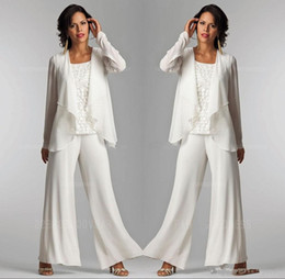 $enCountryForm.capitalKeyWord Australia - 2019 Ivory White Chiffon Lace Lady Mother Pants Suits Mother of The Bride Groom With Jacket Elegant Women Party Dresses Trouser