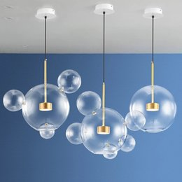 Objective Nordic Vertical 3 Light Glass Globe Lustre Chandelier Sofa Side Luminarias Led Pendant Chandelier Indoor Suspend Lamp Fixtures Ceiling Lights & Fans