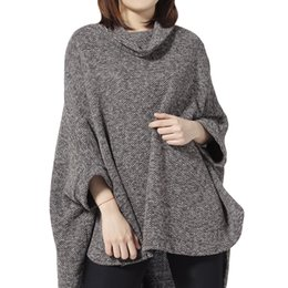 $enCountryForm.capitalKeyWord NZ - Knitted Turtleneck Cloak Sweater Women Camel Casual Autumn Winter Streetwear Ponchos Women Sweater Pullover Vintage Capes Coat