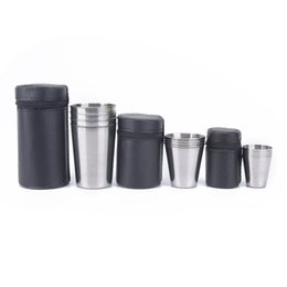 covered tea mugs Australia - Outdoor Camping Cup Tableware 30ml 70ml 170ml Travel Cups Set Stainless Steel Cover Mug Drinking Coffee Tea Beer With Case