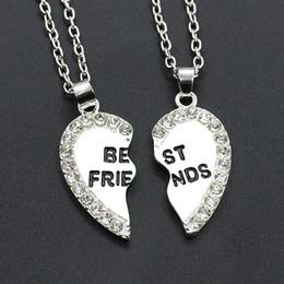 $enCountryForm.capitalKeyWord Australia - Fashion Two Petals Heart Crystal Best Friend Necklace Good Friend Necklace Friendship Pendant Necklace Wholsale Free Shipping