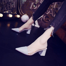 $enCountryForm.capitalKeyWord Australia - Current2019 Mirror Fitting Ma'am Slipper Transparent High-heeled Shoes Coarse With Sharp Muller Shoe Woman Joker Baotou
