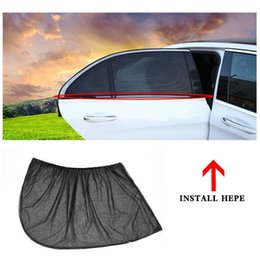 gauze car UK - 2PCS Car Curtains Black Gauze Sunscreen Insulation Side Window Sunshade Window Protection Film Cover