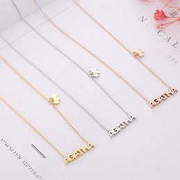 Puppy Pendants Australia - Tshou32 Fashion New Big Letters Titanium Steel Necklace Women's Rose Gold Clavicle Chain Puppy Pendant Jewelry J190530