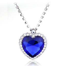 $enCountryForm.capitalKeyWord Australia - Titanic Ocean Heart Necklace With Full Rhinestone Claw Chains Sapphire Dark Blue Crystal Heart Pendant Necklace Woman Jewelry