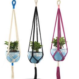 $enCountryForm.capitalKeyWord Australia - Handmade Colorful Macrame Plant Hangers Indoor Outdoor Flower Hanging Basket Cotton Rope 4 Legs Balcony Pot Hanger Room Decor