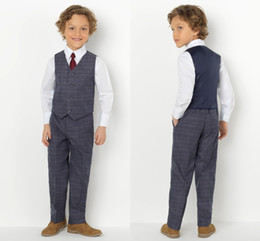 Handsome Kids Suits Australia - Spring Plaid Kids Wedding Tuxedos Handsome 2 Pieces Summer Boy's Pants Suits Flower Boys Formal Wear(Jacket+Pants)