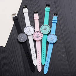 Leather watch design for girLs online shopping - Korean Young Girl Watches Simple Cute Style Quartz Watch Cartoon Design Lovely Cat Gift Clock For Women Students Boys And Girls