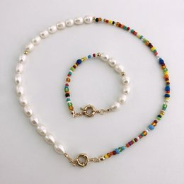 fashion bracelet freshwater pearls UK - Jewelry Sets Fashion Real Pearl Jewelry Set Bohemian Multi-Color Glass Beads Freshwater Pearl Necklace and Bracelet Set for Women Party